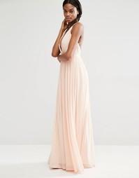Плиссированное платье макси с глубоким вырезом Missguided - Телесный