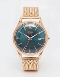 Золотые наручные часы с плетеным дизайном ремешка Henry London Stratfo