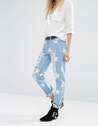 Потертые джинсы до щиколотки со звездами Noisy May - Светло-голубой
