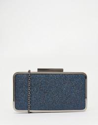 Синий блестящий клатч с металлической отделкой Nali