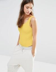 Боди в рубчик с овальным вырезом Boohoo - Желтый