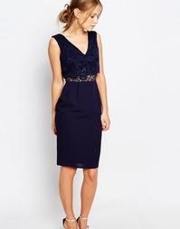 Платье-футляр 2 в 1 с кружевным топом Elise Ryan - Темно-синий