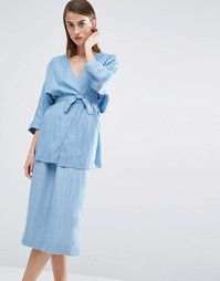 Кимоно с поясом и рукавами 3/4 Selected Dina - Светло-голубой