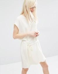 Платье с рукавами-кимоно и завязкой на талии Monki - Белый