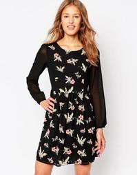 Платье с длинными рукавами и цветочным принтом Iska - Черный