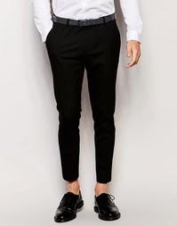 Черные укороченные супероблегающие строгие брюки ASOS - Черный