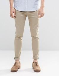 Супероблегающие брюки в строгом стиле из хлопкового сатина песочного ц Asos