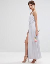 Креповое платье макси с запахом ASOS WEDDING - Серый