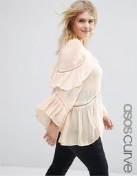 Блузка с оборками ASOS CURVE - Розовый