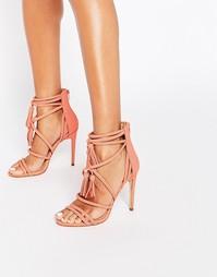 Коралловые сандалии на каблуке с ремешками и кисточками ALDO Catarina
