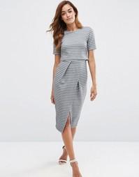 Двухслойное платье-футляр в полоску ASOS - Серый