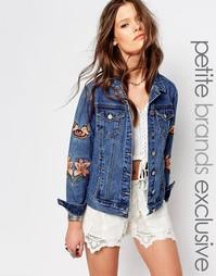 Джинсовая куртка с цветочной вышивкой и бабочками Glamorous Petite