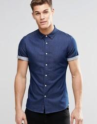 Темная облегающая джинсовая рубашка с короткими рукавами ASOS