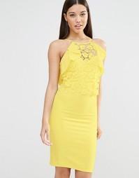 Облегающее платье с кружевом и оборками Lipsy - Желтый
