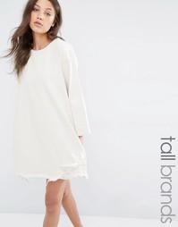 Джинсовое платье с рукавами 3/4 и рваной кромкой Waven Tall - Oatmeal