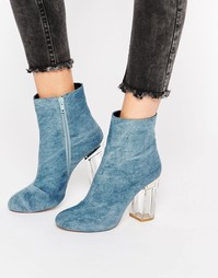 Public Desire Cheryl Blue Clear Heel Ankle Boot - Синий деним