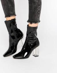 Черные ботильоны на прозрачном каблуке Public Desire Chloe