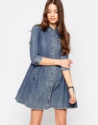 Джинсовое платье-рубашка Bellfield - Умеренный выбеленный