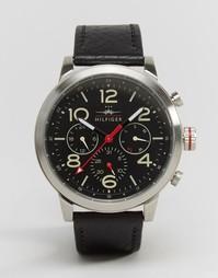 Часы-хронограф с черным кожаным ремешком Tommy Hilfiger Jake 1791232