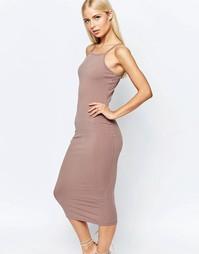 Платье миди в рубчик с квадратным вырезом Club L - Светлый мокко