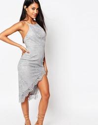 Кружевное платье миди с высокой горловиной и разрезом Love Triangle