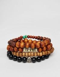 Набор браслетов из бусин (черный/коричневый) ASOS - Мульти