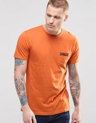 Оранжевая футболка с принтом пейсли на кармане Pretty Green