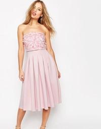 Платье-бандо миди с декоративной отделкой ASOS SALON - Телесный