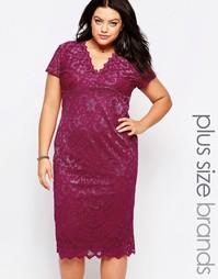 Кружевное платье Goddiva Plus - Фуксиево-красный