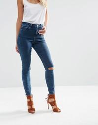 Темные облегающие джинсы с прорехами на коленях ASOS RIDLEY