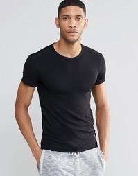 Черная облегающая футболка в рубчик Hugo Boss - Черный