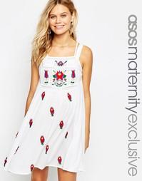 Платье из жатого хлопка с вышивкой ASOS Maternity - Кремовый