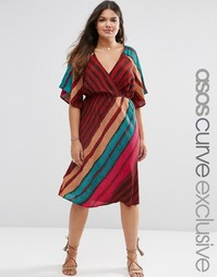 Платье миди в яркую полоску с запахом ASOS CURVE - Мульти