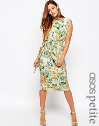 Цветочное платье с узкой юбкой, поясом и разрезами на рукавах ASOS PET