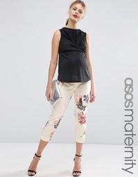 Суженные книзу брюки для беременных с цветочным принтом ASOS Maternity