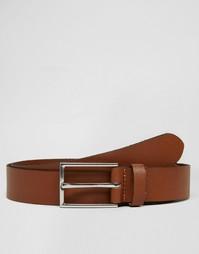 Светло-коричневый кожаный ремень ASOS - Рыжий