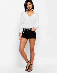 Джинсовые шорты с декоративной строчкой по бокам Vero Moda - Черный