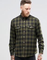 Свободная рубашка цвета хаки в клетку с двумя карманами ASOS - Хаки