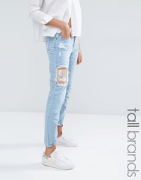Рваные джинсы бойфренда с нашивками Waven Tall Aki - Выбеленный синий