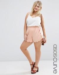 Шорты с волнистой кромкой ASOS CURVE - Nude pink