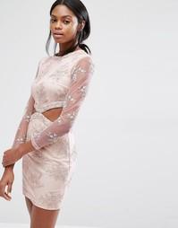 Платье мини с кружевной цветочной отделкой и вырезами Missguided