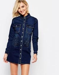 Джинсовое платье‑рубашка Liquor and Poker Portland Rose - Темный синий