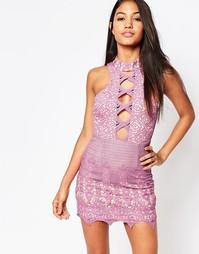 Кружевное платье мини с вырезом спереди Love - Розовый