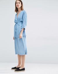 Длинная юбка-карандаш Selected Dina - Светло-голубой