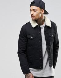 Черная джинсовая куртка с меховым воротником ASOS - Черный