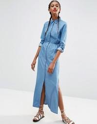 Светло-синее джинсовое платье-рубашка макси ASOS - Светло-голубой