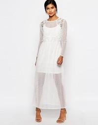 Платье макси из полупрозрачного кружева Vero Moda - Снежно-белый