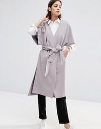 Длинное пальто с рукавами-кимоно ASOS - Светло-серый