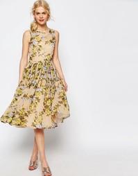 Платье миди для выпускного с принтом роз ASOS - Мульти