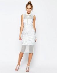 Сетчатое платье миди с воротником ASOS SALON - Белый